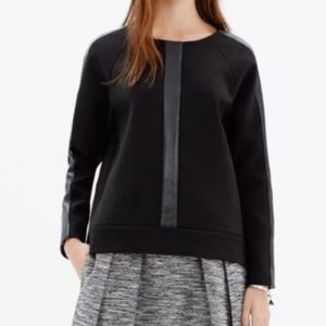 Madewell Black Leather Stripe Sleeve Top XS